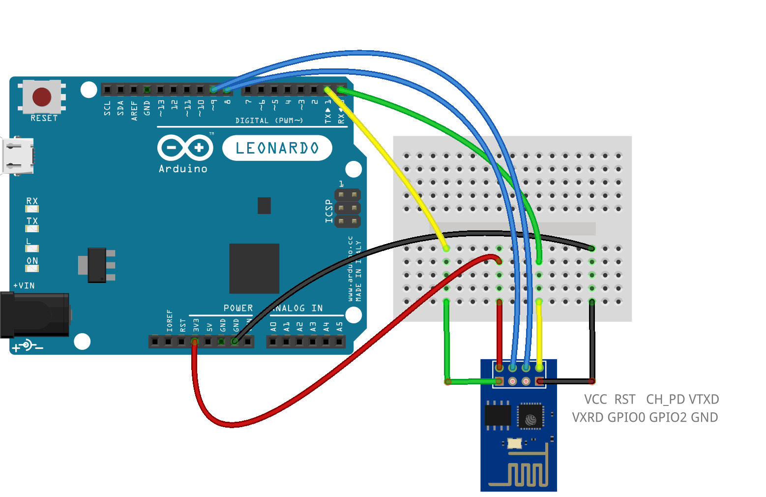 Esp attached to an arduino leonardo