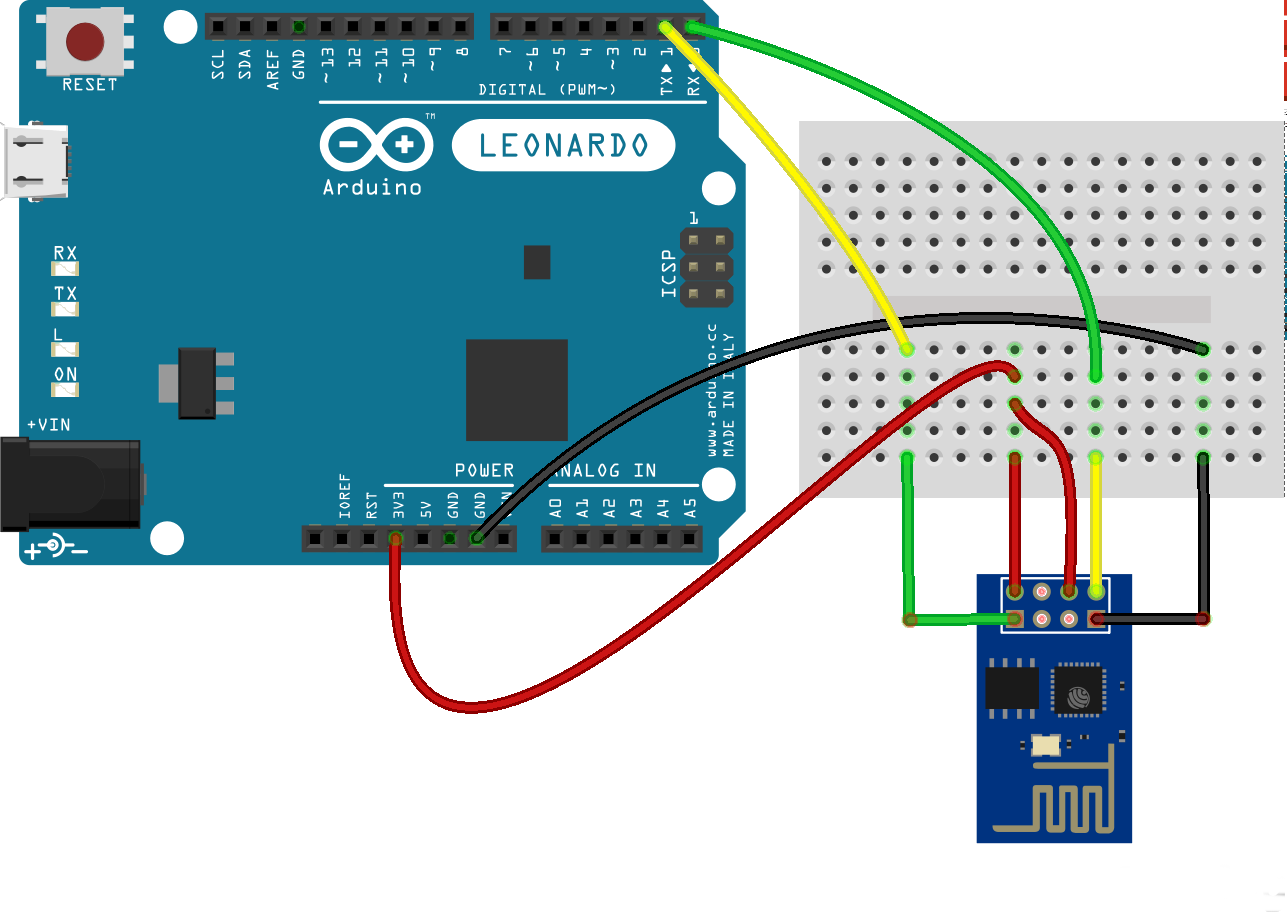 ESP8266 attached to an Arduino Leonardo