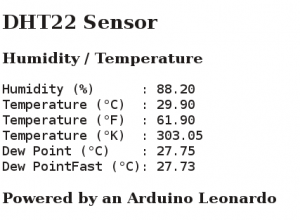 Arduino Leonardo WEB Server to Display Temperature and Humidity