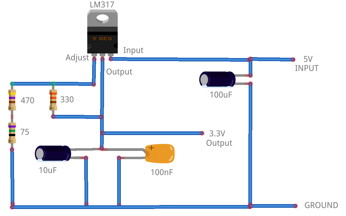 Lm317 To Output 33 Volts Microcontroller Electronics Fixed Voltage Power Supply Circuit 33v Diagram