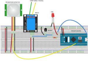 PIR Sensor and Relay Switch to turn on a Light